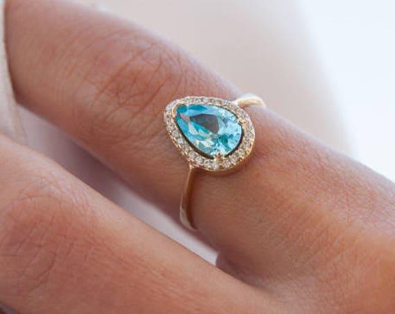 Pear Halo Ring, Gold Engagement Ring, Birthstone Ring, Coloured Gem Rind, Halo Engagement Ring, Cubic Zirconia Ring, Gemstones Gold Ring