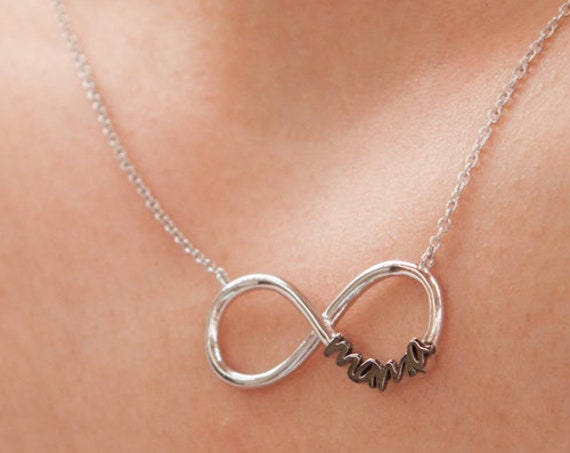 Infinity Necklace, Infinity Symbol, Infinity Mama, Mothers Necklace, Figure 8 Necklace, Infinity Charm, Mama Necklace, Mothers day Gift