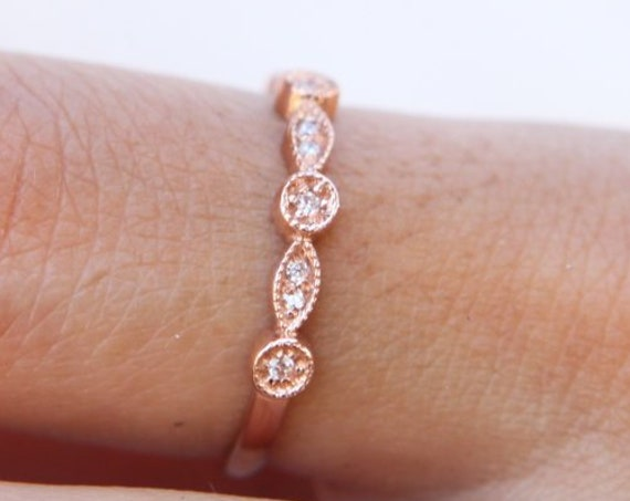 Vintage Wedding Ring / Half Eternity Ring/ 14k Solid Gold Art Deco Diamond Wedding Ring / Marquise Matching Ring / Stackable Diamond Ring