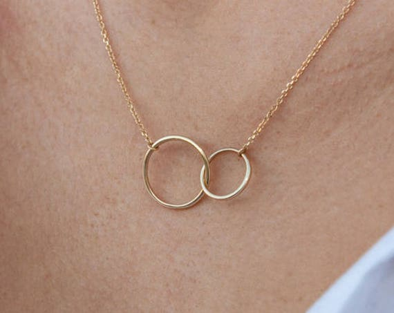 Gold Linked Rings, Linked Rings Necklace, Double Circle Charm, Karma Necklace, Circle Necklace, Interlocking Circles, Family Necklace