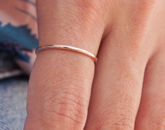 Thin Gold Ring, Thin Wedding Ring, Half round Ring, Gold Band Ring, Dainty Ring, 1mmBand Ring, Thin Wedding Band, Gold Stacking Ring