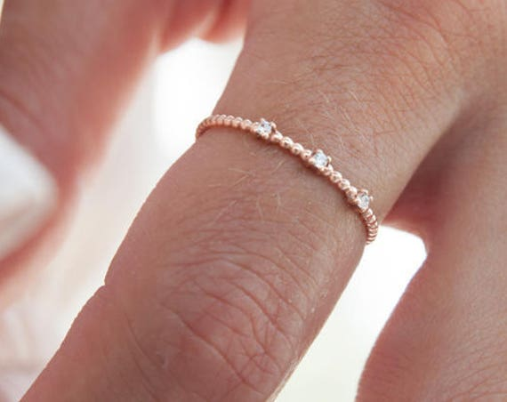 Gold Stacking Ring, Thin Gold Ring, Gold Beaded Ring, Skinny Gold Ring, Bubble Ring, Rose Gold Ring, Twist Ring, Dotted Ring with cz,Cz Ring