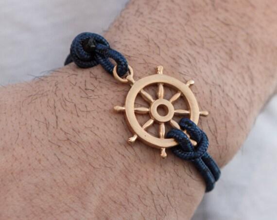 Ship Wheel Bracelet, Nautical Bracelet, Mens Bracelet, Blue Nautical Bracelet, Ship wheel, Silver Mens Bracelet, Ship Wheel Jewelry