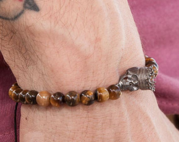 Skull Bracelet, Tiger Eye Bracelet, Beaded Bracelet, Silver Skull, Tiger Eye 6 mm Bracelet, Zen Bracelet, Gothic Bracelet, King Skull