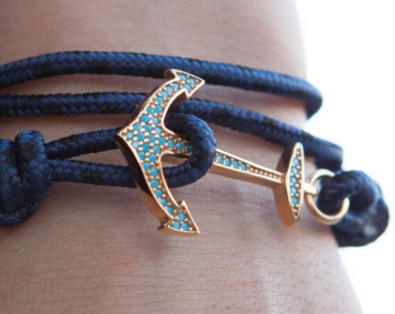 Anchor Bracelet, Turquoise Cz Anchor, Wrap Leather Bracelet, Anchor with Stones, Nautical Jewelry, Silver Anchor Charm, Womens Anchor