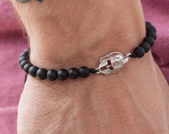 Onyx Bracelet, Helmet Bracelet, Mens Bracelet, Spartans Helmet, Black Onyx Bracelet, Helmet Jewelry, Beaded Bracelet, Mens Jewelry