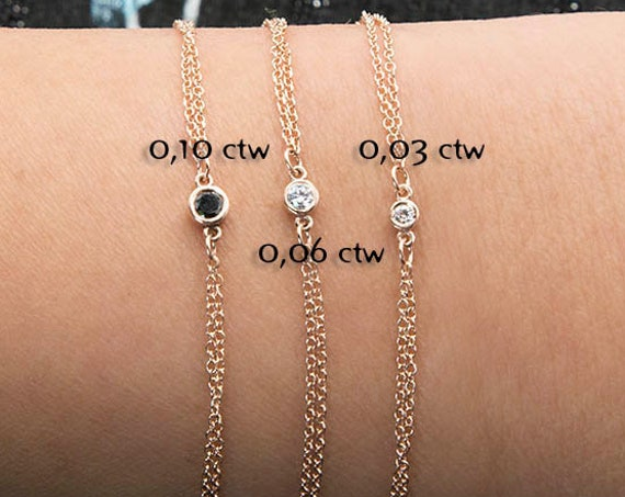 Diamond solitaire bracelet / Diamond bracelet / Diamond bezel / Dainty Diamond Bracelet / Birthday Gift / Single Diamond Bezel Bracelet