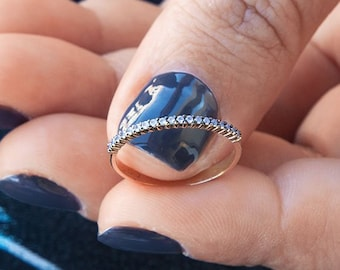 Opal Ring, Half Eternity Ring, Thin Gold Ring, Wedding Ring, Gold Stacking Ring, Half Eternity Band, Engagement Ring, Half Round Ring