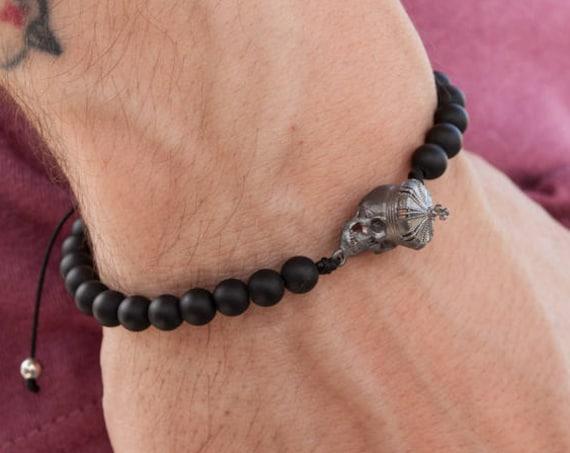 Skull Bracelet, Black Onyx Bracelet, Mens Skull Bracelet, Silver Skull, Onyx 6 mm Bracelet, Zen Bracelet, Gothic Bracelet, King Skull