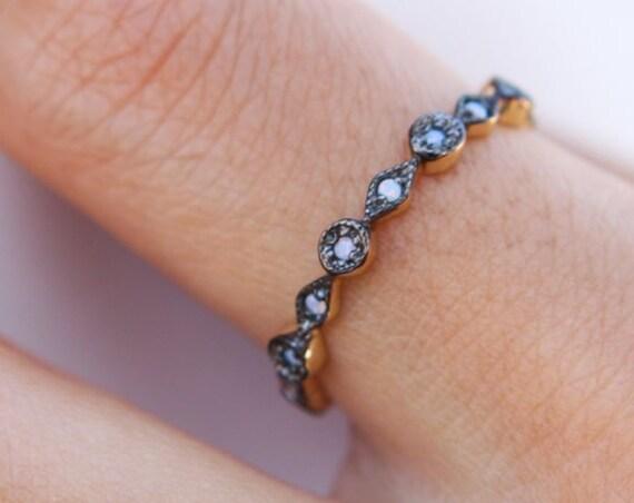 Opal Ring Milgrain Bead & Eye 14K Gold Full Eternity Unique Wedding Band Stacking Rings Vintage Inspired Stackable Art Deco