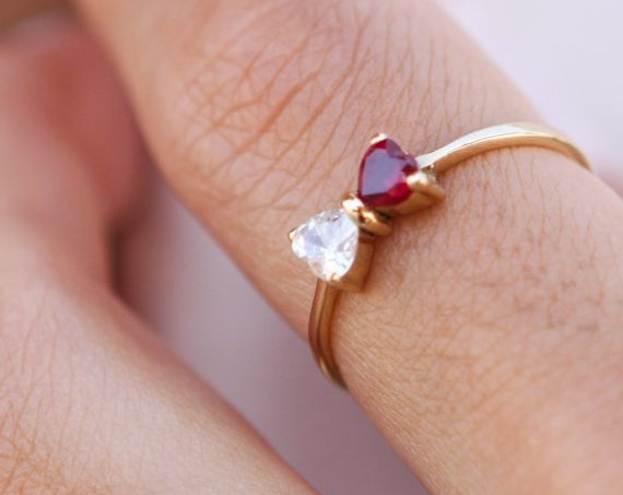 Bow Ring, Gold Bow Ring, Bow Tie Ring, Heart Ring, Cute ring, Bow Ring With Heart shape Zircons, Dainty Ring, Gold Stacking Ring