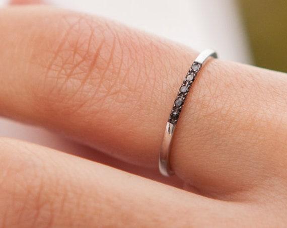 Diamond Ring, 5 Black diamonds Ring, Engagement Ring, Diamond Wedding Band, Thin Wedding Ring, Diamond Ring, Diamond Band, 5 Diamonds Band