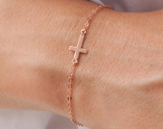 Gold Cross Bracelet, Gold Chain Bracelet, Simple Cross Bracelet, Sideways Cross Bracelet, Christian Bracelet, Baptism Bracelet,Cross Jewelry