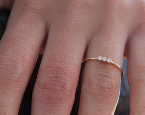 Diamond Gold Ring, Triple Stone Ring, Wedding Ring, Engagement Ring, Gold Stacking Ring, Natural Diamond Ring, Promise Ring