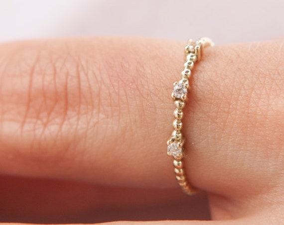 Beaded Ring, Thin Gold Ring, Gold Stacking Ring, Gold Beaded Ring, Thin Stacking Ring, Gemstone Dot Ring, Thin Dot Ring with Cz, Bubble Ring