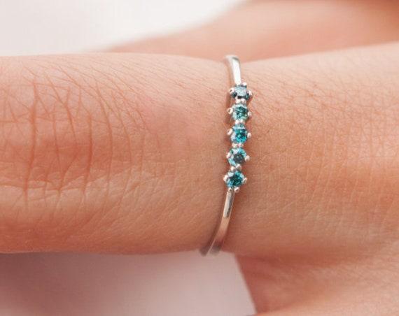 Blue Diamond Ring, Diamonds Gold Ring, Wedding Ring, Engagement Ring, Gold Stacking Ring, 5 Stones Ring, Blue Diamonds Ring, Diamond Ring