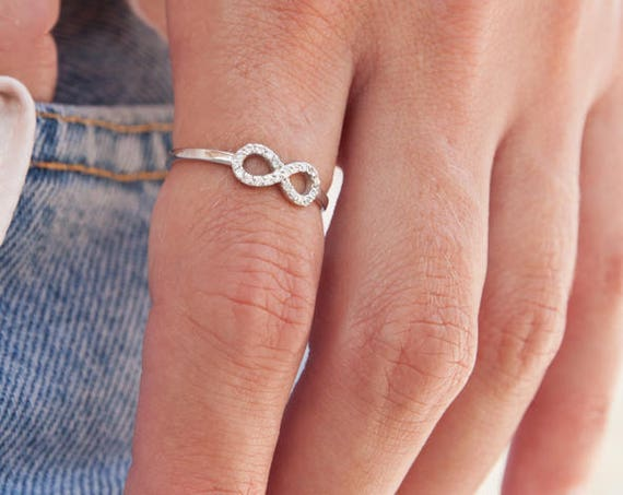 Gold Infinity Ring, Micro pave Infinity, Love Eternity Ring, Promise Ring, Gemstone Infinity Ring, Engagement Ring, Cz Ring