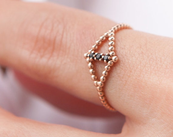 Evil eye Shape Ring, Thin Gold Ring, Gold Stacking Ring, Gold Beaded Ring, Thin Stacking Ring, Gemstone Dot Ring, Thin Dot Ring, Beaded Band