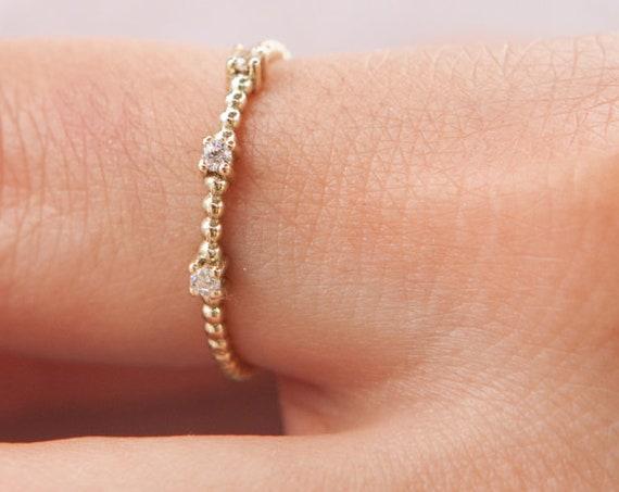 Thin Diamond Ring, Thin Ring, Gold Beaded Ring, Gold Stacking Ring, Thin Dot Ring, 14k Gold Ring, Dainty Gold Ring, White Diamonds Ring