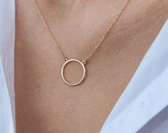 Ring Necklace, Halo Necklace, Gold Circle Necklace, Circle of Life Charm, Karma Necklace, Eternity Necklace,  One Circle Necklace