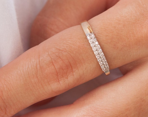 Half Eternity Ring, Double Row Diamonds, Diamond Wedding Band, Diamond Ring, Stackable Diamond Ring, Gold Diamonds Band, Double Row Ring