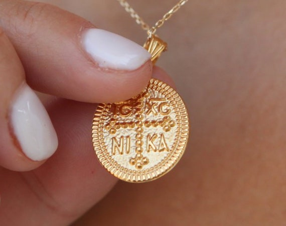 Christian Necklace, Greek Christian Necklace, Oval Charm, Byzantine Cross Pendant, Orthodox Solid Gold 14k Coin, Gold Double Sided Pendant