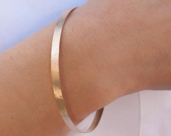 Gold Bangle Bracelet, Solid Gold Bangle, Jewelry Gift for Her, Wide Gold Bangle, 4 mm Gold Bangle, Stacking Bracelet, Cuff Bracelet