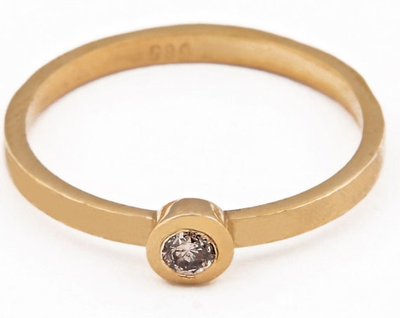 Bezel Ring, Diamond Ring, Brown Diamond Ring, Bezel Diamond Ring, Gold Stacking Ring, Thin Gold Ring, Diamond 0.07ct, Gold bezel Ring