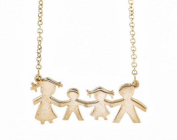 Family Necklace, Mothers Necklace, Solid Gold Necklace, Stick Family Pendant, Family Necklace Personalized, Personalized Gift, Initial Charm