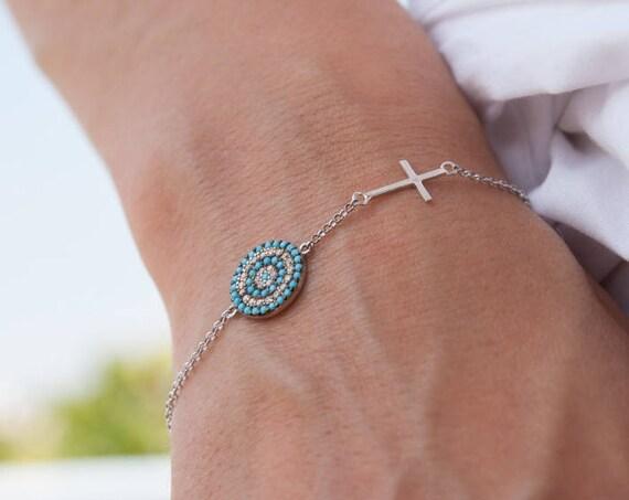 Silver Evil Eye, Target Bracelet, Pave Evil Eye, Protection Bracelet, Lucky Evil Eye Charm, Sideways Cross, Turquoise Bracelet