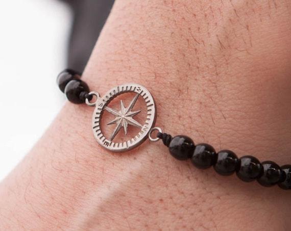 Compass Bracelet, Onyx Bracelet, Nautical Bracelet, Beaded Bracelet, Black Onyx Bracelet, Men Healing Bracelet, Zen Bracelet,Graduation Gift