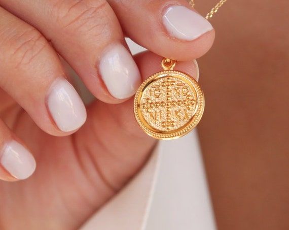 Christian Necklace, Greek Christian Necklace, Coin Charm, Byzantine Cross pendant, Orthodox gold coin necklace, Gold Double Sided Pendant