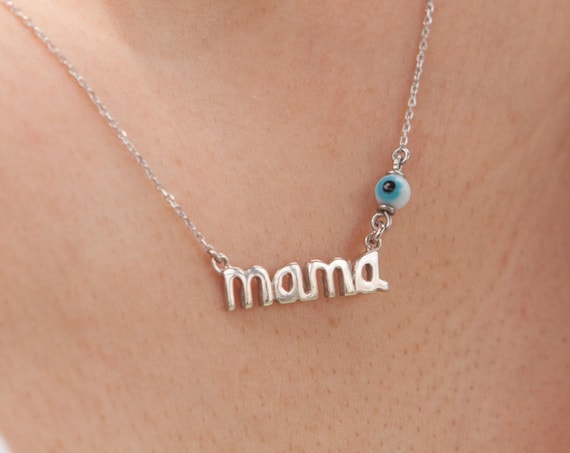 Mothers Necklace, Mom Necklace, Mama Necklace, Mommy Necklace, Mama with Evil-eye, Mothers Day Gift, Silver Mama, Mama Necklace, Mom Charm