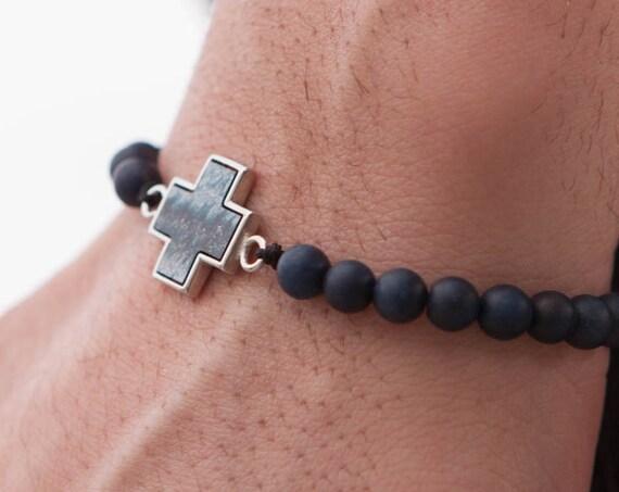 Matte Lapis Bracelet, Mens Beaded Bracelet, Cross Bracelet, Matte Lapis 6 mm Bracelet, Men Healing Bracelet, Zen Bracelet, Lapis Bangle