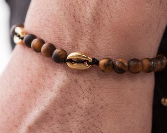 Tiger eye Bracelet, Gold Button Bracelet, Mens Bracelet, Beaded Bracelet, Mens Jewelry, Men Healing Bracelet, Macrame Bracelet