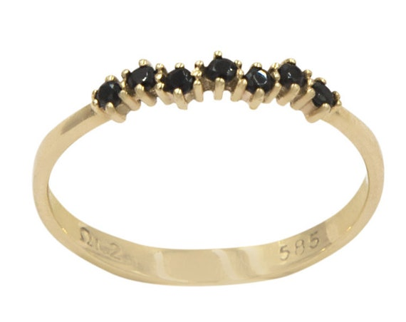 Cluster Ring, 7 Stone Ring, Gold Stacking Ring, Thin Gold ring, Gold Ring, Tiny Cluster Ring, Half Eternity Ring, Gold Cluster Ring, Cz Ring