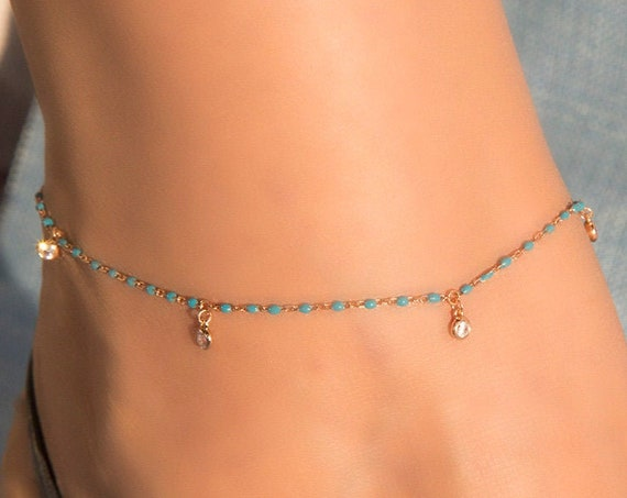 Silver Anklet, Gemstones Anklet, Anklet Bracelet, Silver Hanging Cz, Silver White Cz Anklet, Foot Jewelry, Beach Jewelry, Enamel Anklet