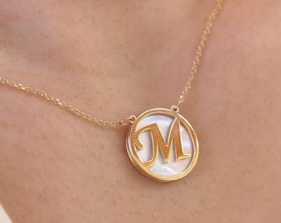 Gold Monogram, Initial Letter, Monogram Necklace, Solid Gold Monogram, Personalized Letter, Personalized Gift, Coin Necklace
