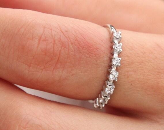 Diamonds Gold Ring, Wedding Ring, Engagement Ring, Gold Stacking Ring, Half Eternity Ring, Black Diamond Ring, Diamond Ring,Thin Ring