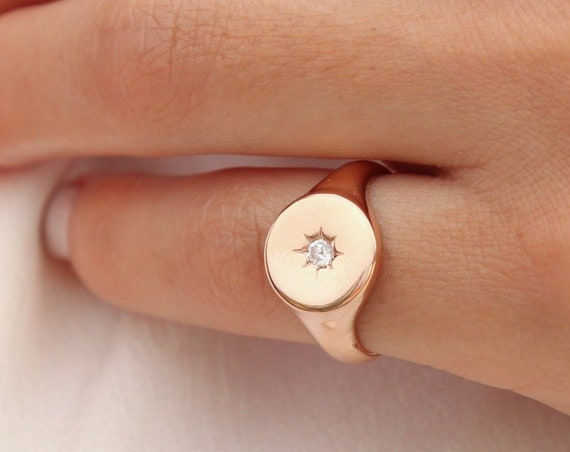 Diamond Signet Ring, Pinky Signet Ring, Polaris Pinky Ring, Circle Rose Gold Ring, Star Setting Diamond Signet Ring, Coin Pinky Ring