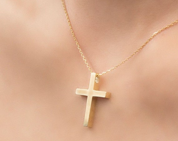 Gold Cross Necklace, Simple Gold Cross, Christian Pendant, Gold Christian Pendant, Mens Gold Cross, Cross Pendant, Cross Charm Necklace