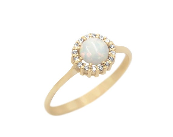 White Opal Ring, Gold Opal Ring, Fire Opal Ring, Circle Opal ring, Australian Opal Ring, Opal Engagement Ring, Gold Halo Ring,Opal Halo Ring
