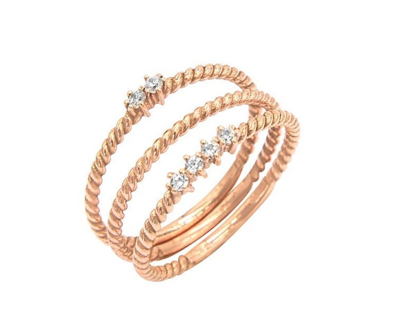 Mothers Ring, Twisted Engagement Ring, Twist Ring, Family Ring, Gold Stacking Ring, Rope Ring, Birthstone Gold Ring, 14k Gold Ring