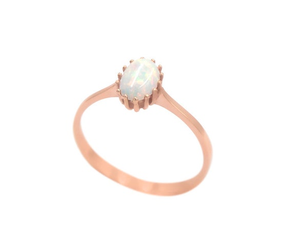 White Opal Ring, Gold Opal Ring, Fire Opal Ring, Oval Opal ring, Australian Opal Ring, Opal Engagement Ring, Solitaire Opal Ring