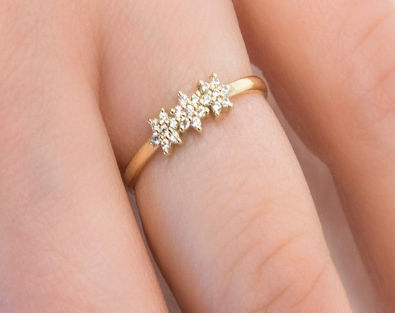 Daisy Ring, Diamond Ring, Gold Flower Ring, Thin Gold Ring, Gold Floral Ring, Diamond Gold Ring, 14k Gold Ring, Dainty Ring, Engagement Ring