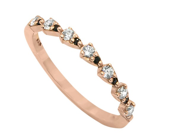 Marquise Gemstone Ring / Marquise Wedding Ring in 14K Solid Gold / Alternating Marquise Round Cz Ring 14K Gold / Stackable Band