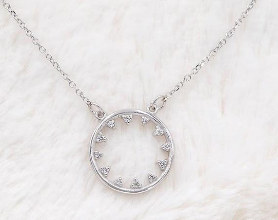 Circle Necklace, Halo Necklace, Gold Circle Necklace, Circle of Life Charm, Gold Karma Necklace, Eternity Necklace, Gemstone Halo Necklace