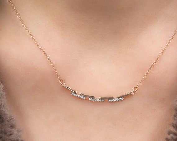 Gold Bar Necklace, Line Necklace, Statement Smile bar necklace with stones, Curved bar necklace, Rose gold bar necklace
