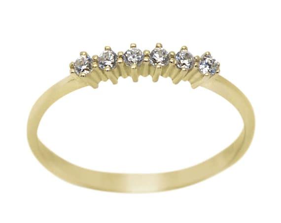 Diamond Gold Ring/ Six Diamonds Ring/ Diamond Engagement Ring/ Gold Stacking Ring/ Black Diamond Ring/ Diamond Ring/ 6 stone Ring
