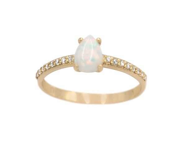 White Opal Ring, Gold Opal Ring, Fire Opal Ring, Pear Opal ring, Australian Opal Ring, Opal Engagement Ring, Solitaire Opal Ring